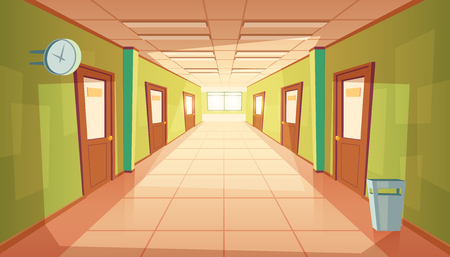 Vector cartoon school hallway with window and many doors. College corridor with rubbish bin and no people. Interior of university, education concept. Imagens - 104733554