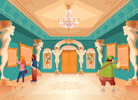 Vector cartoon museum exhibition with pictures and visitors in royal ballroom with atlas columns. Art gallery with sculptures, excursion. Ancient hall interior, exposition background Фото со стока - 104733559