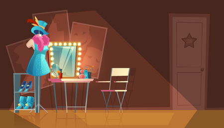 Vector cartoon illustration of empty dressing room, wardrobe with furniture, dresser with makeup mirror, stand with stage costume. Interior of circus or theater cloakroom for artist to change clothes