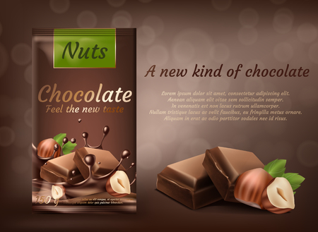 Banner de promoción de vector, paquete de chocolate con leche con avellanas aislado sobre fondo marrón. Producto de repostería dulce, barras de choco con nueces enteras. Maqueta para diseño de paquete y publicidad de marca. Foto de archivo