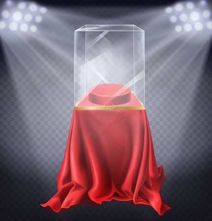 Vector realistic illustration of museum exhibit, empty glass showcase illuminated by spotlights on transparent background. Podium covered with red velvet cloth to display showpieces Imagens