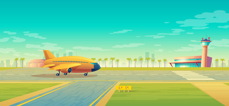 Vector landing strip with plane ready to takeoff. Terminal, control room in tower. Asphalt runway for passenger transportation, landscape with hangar, building. Travel concept, background for poster
