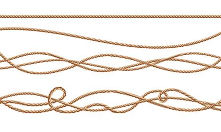 Cordes en fibre réaliste 3d de vecteur - droites et attachées. Cordons torsadés en jute ou chanvre avec boucles isolés sur fond blanc. Éléments décoratifs avec filetage brun.