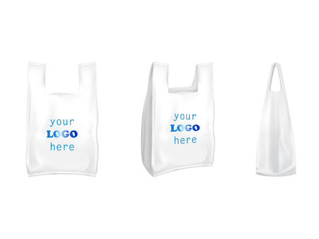 Plastic T-shirt shopping bags vector isolated realistic white blank templates for branding. 3D illustration of T-shirt plastic shop packaging model mockup with handles front and side view Stock Illustratie