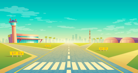 Vector landing strip for airplanes near of terminal, control room in tower. Empty asphalt runway - crossroad for passenger transportation, landscape with hangars, buildings.