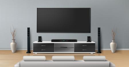 Maquette réaliste de vecteur de salon avec grande télévision à écran plasma sur un mur plat gris, support noir avec système de cinéma maison moderne, canapé blanc pour regarder des films. Intérieur minimaliste de l'appartement résidentiel