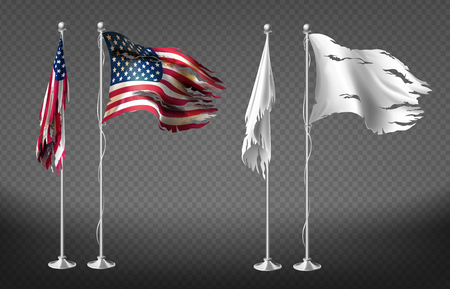 Ensemble réaliste de vecteur avec des drapeaux endommagés des États-Unis d'Amérique sur des poteaux en acier isolés sur fond transparent. Bannières blanches sales avec des bords irréguliers sur le mât. Clipart pour votre conception