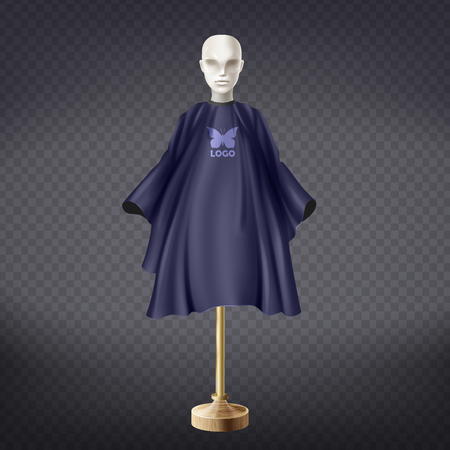Vector 3d realistic dark blue hairdresser apron on white mannequin isolated on transparent background. Professional equipment for hair cutting, nylon protective cape to wear around neck in barbershop