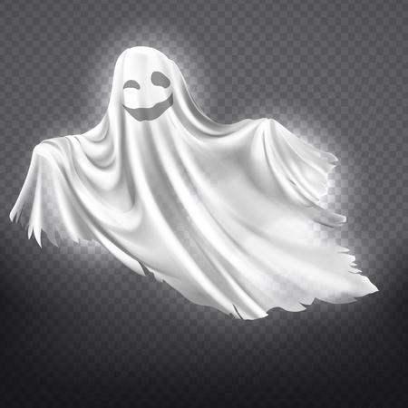 Vector illustration of white ghost, smiling phantom silhouette isolated on transparent background. Halloween spooky monster, scary spirit or poltergeist flying in night. Mystic creature without body