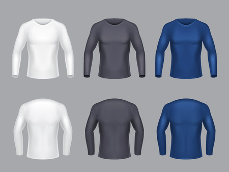 Vector realistic set of blank shirts with long sleeves for men, male casual clothing, sweatshirts for sport trainings, isolated on gray background. Mockup for clothes design, front and back view