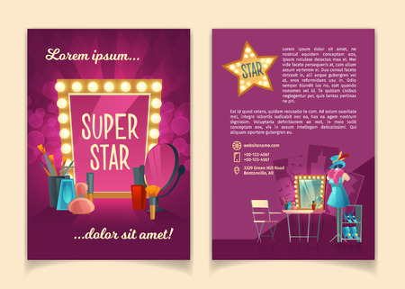 Vector cartoon brochure for advertising concert tours of famous artists, theater groups and circus troupes. Leaflet with illuminated retro frame, makeup mirror, theatrical equipment, stage costumes