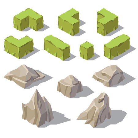 Vector 3d isometric green bushes, grey stones, rocks for garden landscape. Nature objects with shadows, environment. Natural park, plants elements, botanical decoration Template for game design