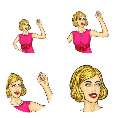 Set of vector pop art round avatar icons for users of social networking, blogs, profile icons. Blonde girl with retro haircut, in pink dress with bow drawing in air with marker. Isolated illustration.  イラスト・ベクター素材