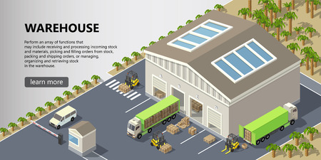 Vector isometric warehouse, delivery service illustration. Storage building with trucks ready for shipping, forklifts with cargo. Web page with button and space for text, logistics concept banner Foto de archivo - 114692836