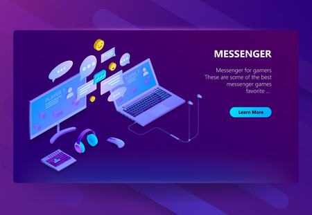 Vector 3d isometric template of site for messenger. Online chat business, development. Social service on laptop and computer for communication, messaging. Illustration in violet, ultraviolet color  イラスト・ベクター素材