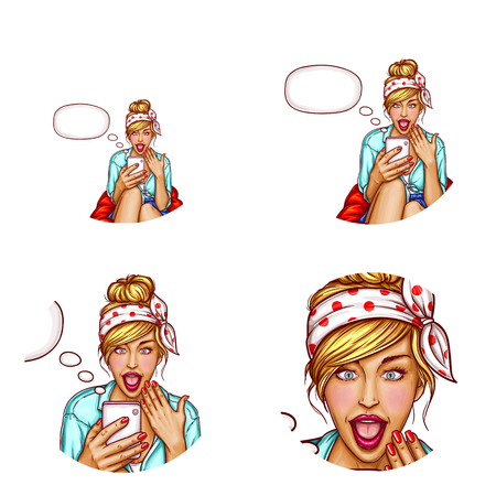 Vector avatar of young girl with amazed face, open mouth looks into the smartphone and reads the SMS in bubble speech. Networking element for sales in web, chats or blogs.