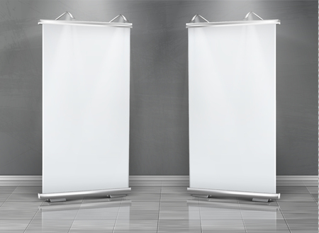 Vector realistic set of blank roll up banners, vertical stands for exhibition and business presentations, isolated on gray background. Mockup with white boards, roll-up displays for commercial ads Illustration