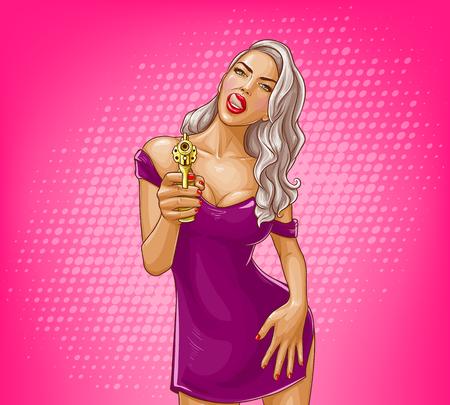 Fille de pop art avec illustration vectorielle de pistolet doré. Jeune femme blonde en robe violette serrée provocante léchant les lèvres avec la langue, la main sur la hanche en séduction sur fond rose Vecteurs