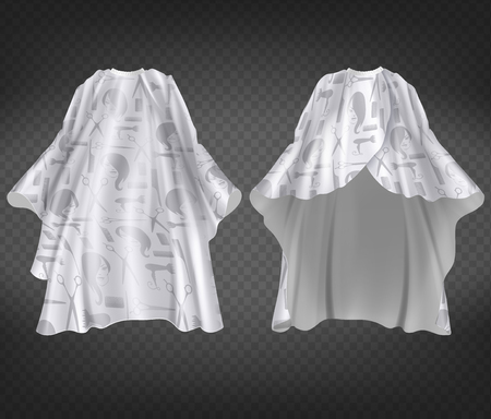 Vector 3d realistic white hairdresser apron with print, pattern isolated on transparent background. Professional equipment for hair cutting, nylon protective cape to wear around neck in barbershop Vectores