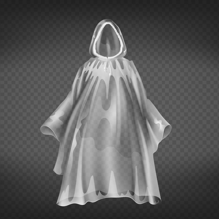 Vector realistic transparent raincoat, disposable waterproof slicker for autumn, springtime. Human protective polyethylene clothes isolated on dark background. Impervious to water plastic hood.