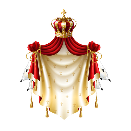 Vector royal baldachin with gold, crown, jewelry and fringe fur isolated on white background. Template of label with heraldic canopy for companies, business. Elegant premium element. Illustration