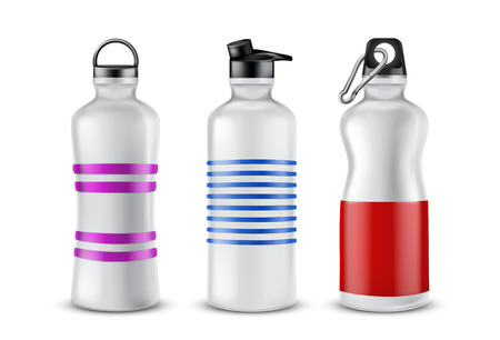 Vector set of striped plastic bottles with lids for drinks, isolated on background. Mockup with aluminum containers for energy cocktails, flask with fresh water for sport activities, jogging, yoga