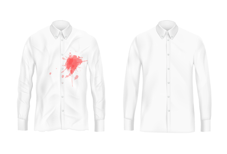 Pare of dirty, rubbed with red wine or jam blotch and ironed, shiny clean white mans shirt realistic isolated . Clothing before after washing, stain removal concept for landry, dry-cleaning ad Stock Photo