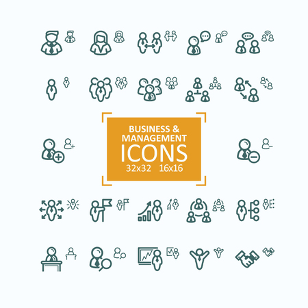 Set of fine line icons, collection of business people icons, personnel management, agreement, handshake, leader and his team, communication, subordination. 32x32 and 16x16 pixel perfect