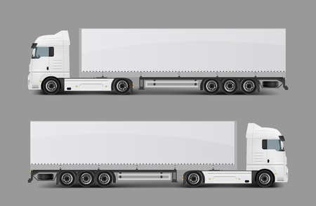Blank white cargo truck with tented semi-trailer side view realistic template. Modern commercial transport for heavy loads transportation, delivery vehicle ready for brand, corporate ad mockup