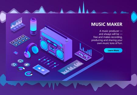 Ilustración de vector de fabricante de música para la tecnología de producción de grabación. Equipo de DJ isométrico o reproductor de audio Hi-Fi, controles de mezclador de sonido o auriculares y altavoces sobre fondo ultravioleta púrpura