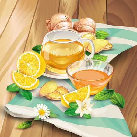 Glass cup of ginger tea with raw sliced on pieces ginger root and lemon, leaves, flower lying on wooden table hand-drawn illustration. Fresh brewed aromatic herbal beverage with oriental