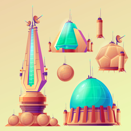 Set of unidentified space objects, UFO, space ships of extraterrestrial alien invaders, cartoon illustrations. Elements for game design. Stock Photo