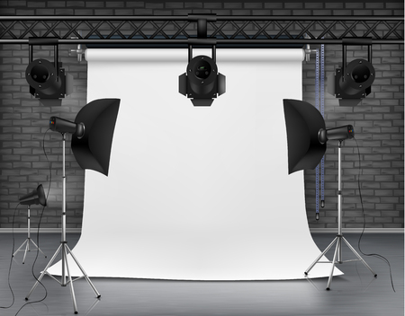 Vector realistic illustration of empty room with blank white screen, studio lights with soft boxes on tripod stands. Concept background with modern lighting equipment for professional photography