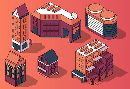 Insieme di vettore di edifici multipiano residenziali isometrici 3D, case in stile moderno e retrò nei colori rosa e viola isolati su priorità bassa. Elementi di design