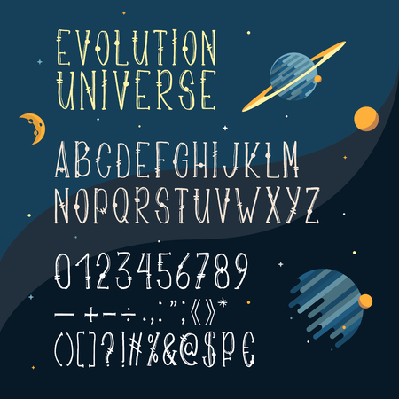 Vector hand drawn font, Latin alphabet, capital letters with numbers and symbols isolated on space background with planets and stars. Cartoon serif typeface for headlines, uppercase Stock Photo