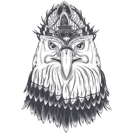 Eagle head with feather comb, art drawn illustration isolated on white background. Predatory bird with pagan ornament for tattoo, print