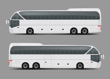 Blank white private charter, tour or coach bus right and left side view realistic template. Modern commercial passenger travel or tourist transport ready for brand, corporate ad mockup design