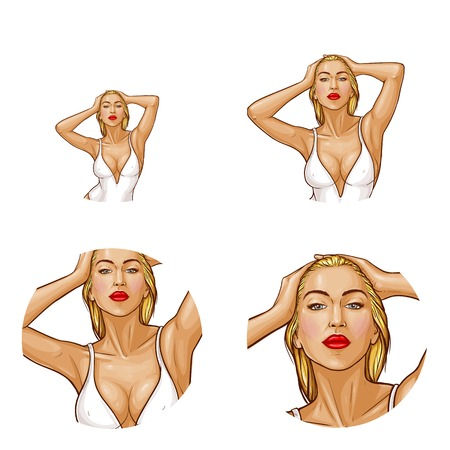 Vector pop art avatar of blonde woman in white one-piece swimming suit isolated in circle for networking. Sexy character with wet hair in underwear for internet chat, blog.