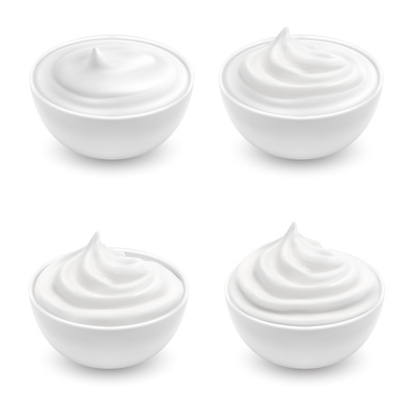 Vector realistic set of white bowls with sour cream, mayonnaise, yogurt, sweet dessert, soft cheese. Ceramic cups with cosmetic product for skincare isolated on background. Mockup for your advertising