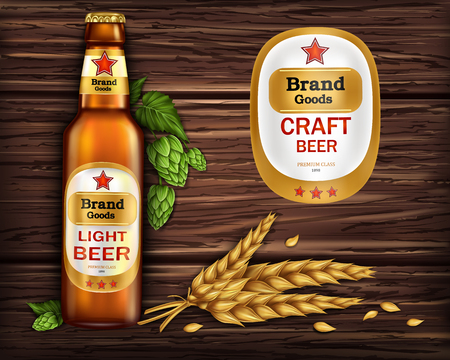 Brand labeled brown glass bottle with light beer on wooden background with ingredients, barley ears and hops, realistic. Poster template for classic craft beer, ad package design Stock Photo