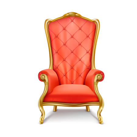 Luxurious antiquarian red armchair with high backrest realistic illustration isolated on white background. Gilded royal throne, exclusive old carved furniture from expensive materials icon