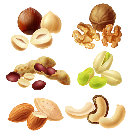 Set of different peeled and with peel nuts realistic illustrations isolated on white background. Full and cracked hazelnut, walnut kernel halves, peanuts, pistachio, almond, dried cashew nuts Stock Illustration - 106460704