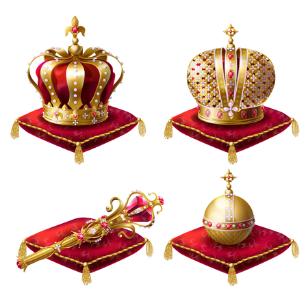 Golden royal crowns, scepter with gem stone and globus cruciger lying on red ceremonial pillow with tassels realistic illustrations set isolated on white background. Symbols of monarchy power Stock Photo