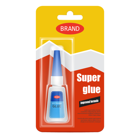 Colorful tube of super fix glue in cardboard and plastic packaging with brand information realistic isolated on white background. Original container and packaging of glue for instant gluing Фото со стока