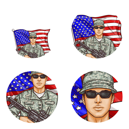 Set of vector pop art round avatar profile icons for users of social networking, blogs. American male soldier in uniform, glasses holding machine gun against US flag. Memorial, independence day symbol Ilustração Vetorial
