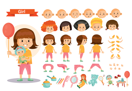 Girl kid playing toys vector cartoon child character constructor isolated icons of body parts, face emotions or gesture and haircut creation. Construction set of young girl child playing dolls Illusztráció
