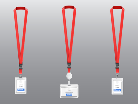 Vector set with three realistic plastic badges, holders with clips, buckles and red lanyards, ID cards for presentation or conference visitors, press, media, office employees isolated on background