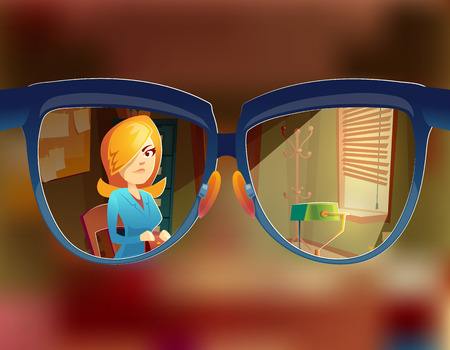 Vector view from the glasses at woman customer. Myopia, short-sightedness concept. Sight at client in working space, study room interior. Businesswoman in agency with order. Vectores