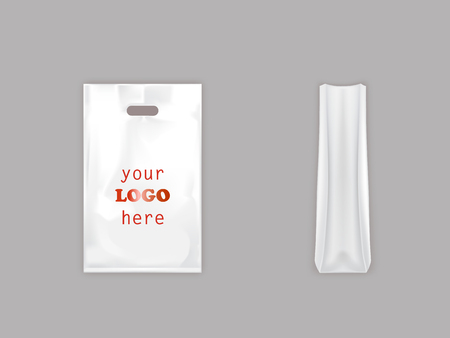 3d vector realistic white plastic bag with handle, disposable polythene packet with blank space for advertising, front and side view, illustration isolated on background. Mockup for brand design