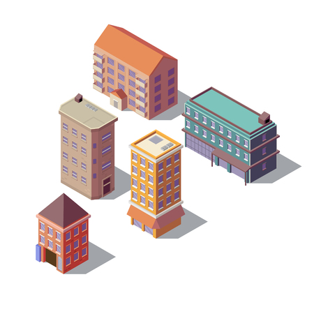Vector isometric set of modern buildings, high towers with business offices, residential multistorey constructions, isolated on background. Urban architecture, town exterior, objects for infographic 일러스트